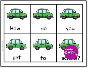 Transportation Scrambled Sentence Cards and No Prep Cut and Paste Worksheets