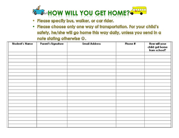 Parent Night Transportation Sheet/Meet the Teacher