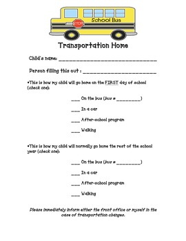 Transportation Sheet