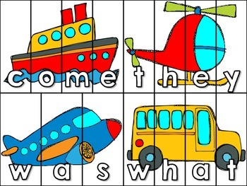 Transportation Sight Word Center