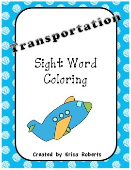 Transportation Sight Word Coloring