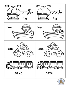 Transportation Sight Word MATCHING Game
