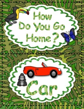 Transportation Signs {How We Go Home Signs-Rainforest theme}