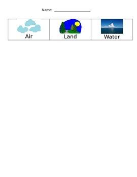 Transportation Sort:  Air, Land, & Water