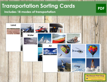 Transportation Sorting Cards