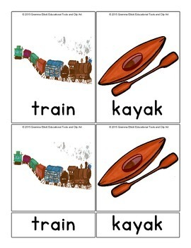 Transportation on Spanish and English 3 Part Montessori Cards with Realistic Art