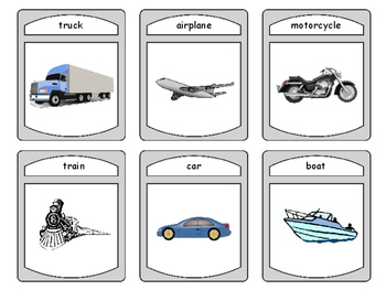 Transportation Spoons Card Game -The Transportation Vocabulary in English
