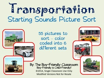Transportation Starting Sounds Picture Sort