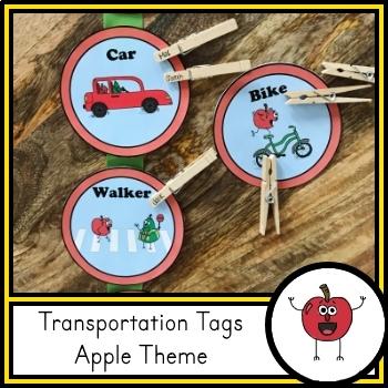 Transportation Tags for Dismissal - Apple Theme