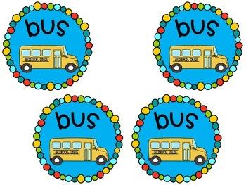 Transportation Brag Tags {Back to School} Car Bus Daycare Walk FREEBIE