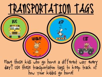 Transportation Tags-How Do We Go Home?