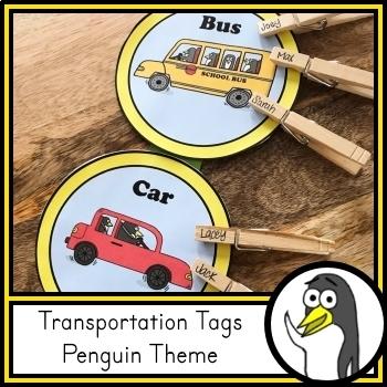Transportation Tags for Dismissal - Penguin Theme