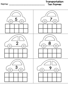 Transportation Ten Frames Worksheet