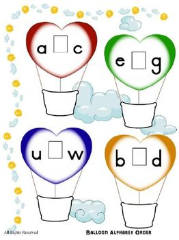 Transportation Theme Balloon Literacy Reading Center - Alphabetical Order - PreK