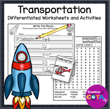 Transportation Theme Differentiated Math and Writing Worksheets and Activities