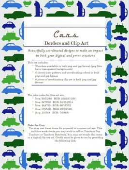Transportation Theme Clipart, Borders, & Sheets for Personal & Commercial Use