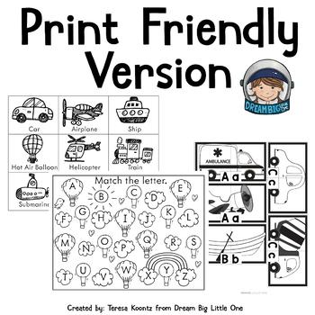 Transportation Theme Literacy Activities for Preschool and Prek, Kindergarten