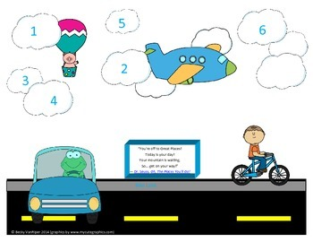 Transportation Theme Roll and Cover Game 1-6