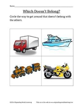 Transportation Theme Worksheets