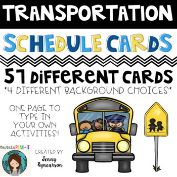 Transportation Theme (with Dunn-Inspired Font) Schedule Cards!