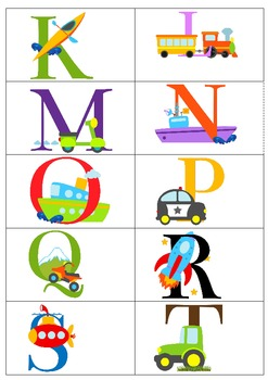 Transportation Themed ABC Bingo