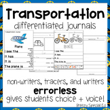 Transportation Themed Differentiated Journal Writing for Special Education