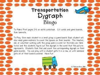 Transportation Themed Digraph Bingo