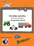 Transportation Themed File Folder Activities for Sorting, Matching and Counting