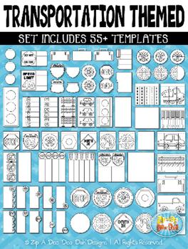Transportation Flippable Interactive Templates {Zip-A-Dee-Doo-Dah Designs}