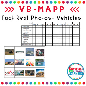 Transportation Themed Real Picture Cards Aligned to VB-MAPP