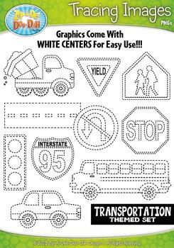 Transportation Tracing Image Clipart {Zip-A-Dee-Doo-Dah Designs}