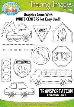 Transportation Themed Tracing Image Clipart Set — Includes