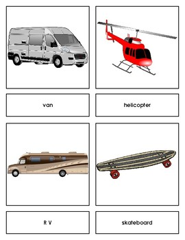 Transportation Three Part Cards