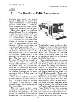Transportation & Travel: Traveling by Bus-The Benefits of Public Transportation