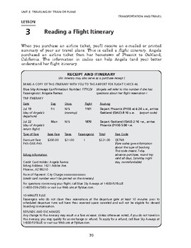 Transportation & Travel: Traveling by Train or Plane-Reading a Flight Itinerary