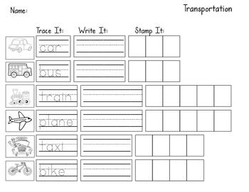 Transportation Unit Worksheet