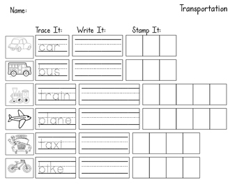 Transportation Unit Worksheet