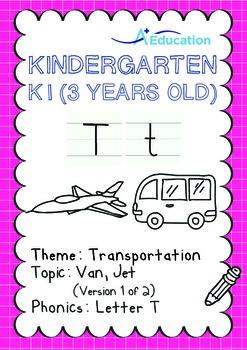 Transportation - Van, Jet (I): Letter T - K1 (3 years old)