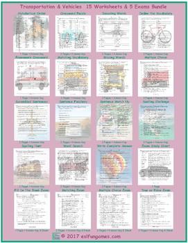 Transportation-Vehicles 20 Worksheet and Exam Bundle