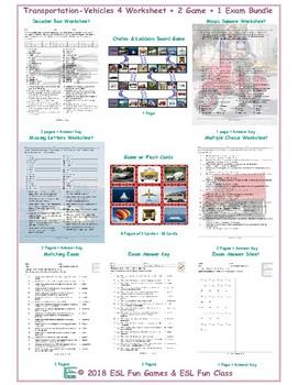 Transportation-Vehicles 4 Worksheet-2 Game-1 Exam Bundle