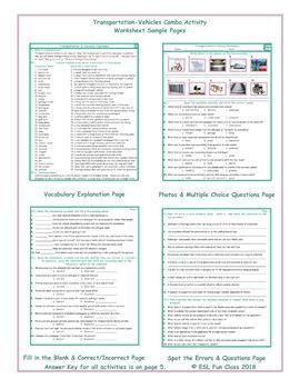 Transportation-Vehicles Combo Activity Worksheets