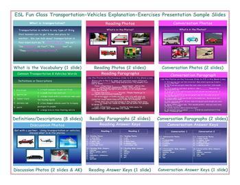 Transportation-Vehicles Explanation-Exercises Presentation