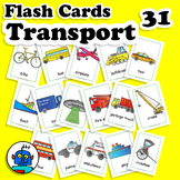 ESL Transportation Vehicles Flash Cards - bicycle, boat, train, car, truck...