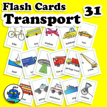 ESL Transportation Vehicles Flash Cards - bicycle, boat, train, car, truck...