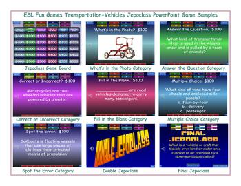 Transportation-Vehicles Jeopardy PowerPoint Game Slideshow