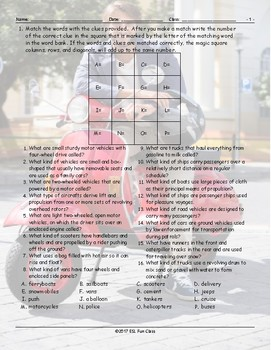 Transportation-Vehicles Magic Square Worksheet