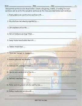 Transportation-Vehicles Sentence Finishers Worksheet
