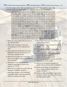 Transportation-Vehicles Word Angles Worksheet