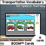 Transportation Vocabulary BOOM Cards for PreK Speech Therapy
