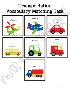 Transportation Vocabulary Matching Folder Game for Special Education
